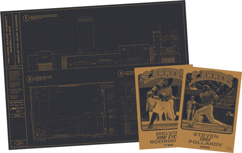 Stadium blueprints and baseball cards