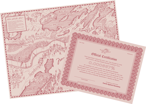 A sample map of the border land and a certificate